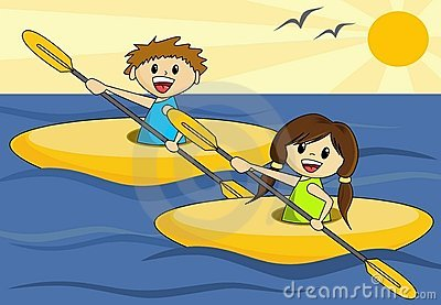 Boy and Girl in Canoes