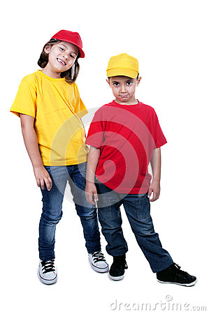Boy and girl with cap