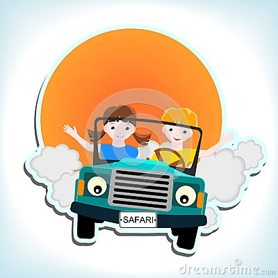 Boy and girl in car