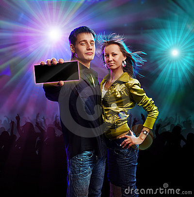 Boy and girl in a club
