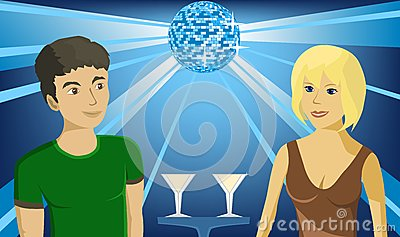 Boy and girl in the club