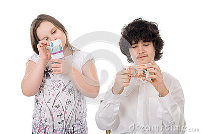 Boy with girl count money