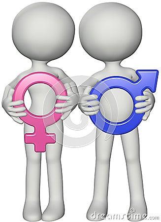 Boy girl couple hold  male female sex symbols