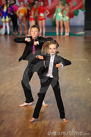 Boy and girl dance at World Dance Olympiad Editorial Stock Image