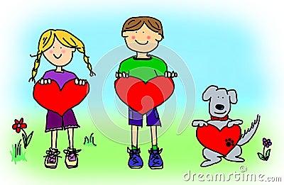 Boy, girl, and dog cartoon holding heart shape