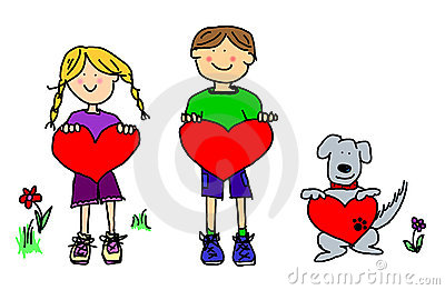 Boy, girl, and dog cartoon holding heart shapes