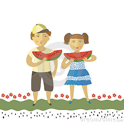 The boy and the girl eat a water-melon