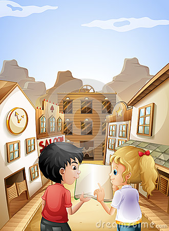A boy and a girl with an empty book talking near the saloon bars