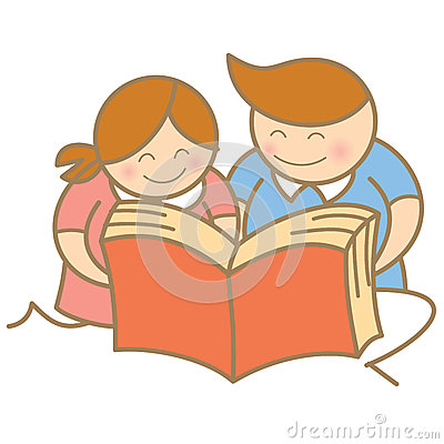 Boy and girl enjoy reading