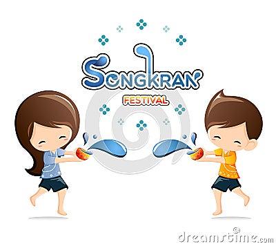 Free Boy&Girl Enjoy Splashing Water In Songkran Festival ,Thailand Stock Photo - 67084920