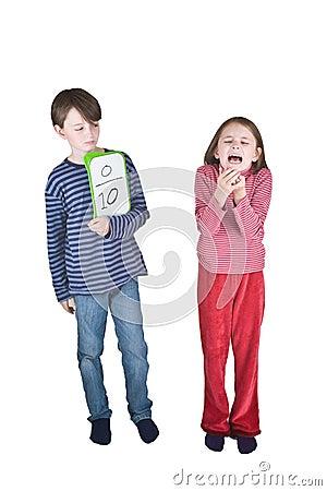 Boy Girl Flu Sneeze Elbow