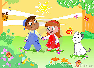 Boy girl and funny animals