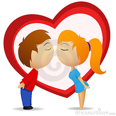 Boy and girl going to kiss with heart shape