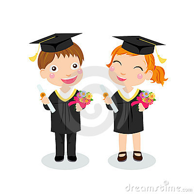 Boy and girl graduate