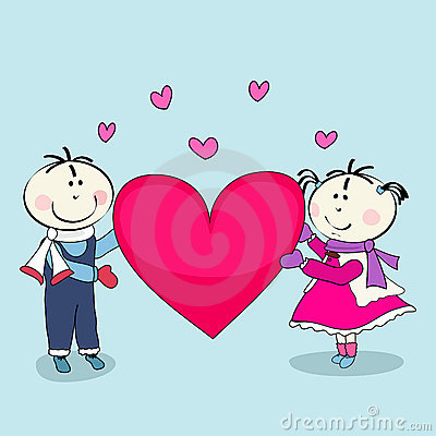 Boy and girl, happy valentine s day