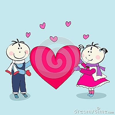 Boy and girl, happy valentine's day