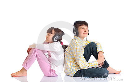 Boy and Girl with Headphones