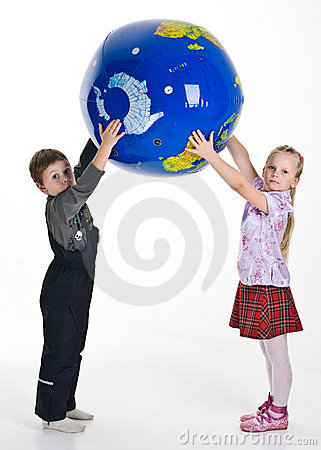Boy and girl holding globe