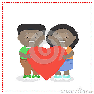 Boy and girl holding a heart together Children African American Vector Illustration