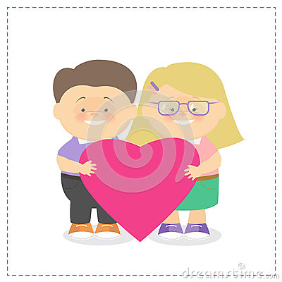 Boy and girl holding a heart together Children Caucasian holdin Vector Illustration