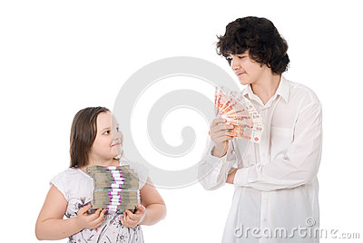 Boy and girl with large sum of money