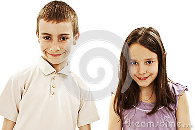 A boy and a girl are laughing