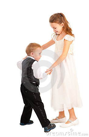 Boy and girl learning to dance