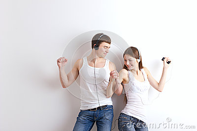Boy and girl  listening of a music