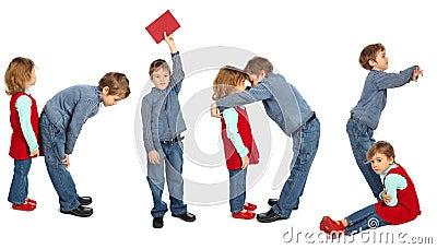 Boy and girl making word KIDS