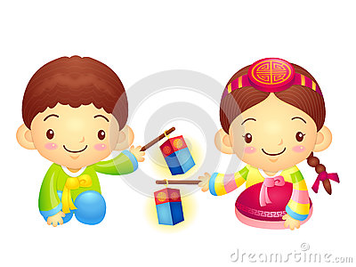 The Boy and Girl Mascot is holding a lantern Building. Korea Tra