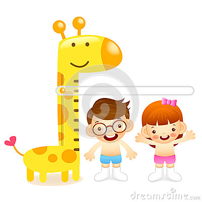 The boy and girl measure one s height. Education and life Charac
