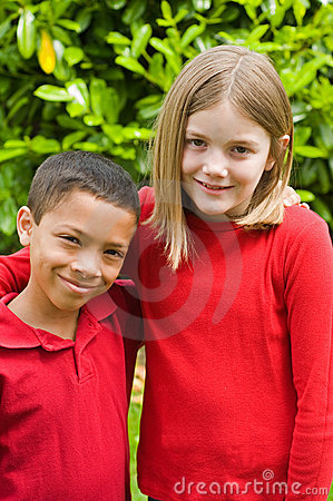 Boy and girl of mixed races