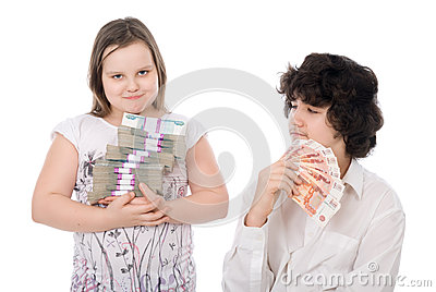 Boy and girl with money