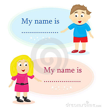 Boy And Girl With Name Card Stock Photography - Image: 19060122