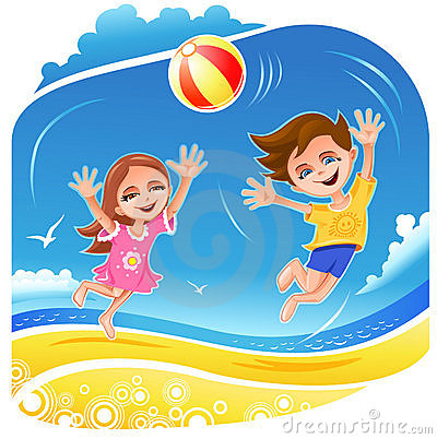 Boy and girl playing with ball on the beach