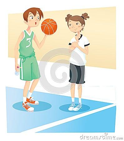 Boy and girl playing basket ball