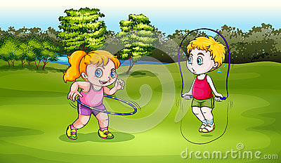 A boy and a girl playing