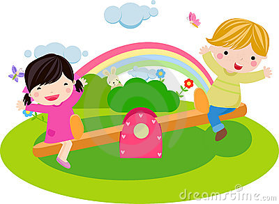 Boy and girl playing seesaw