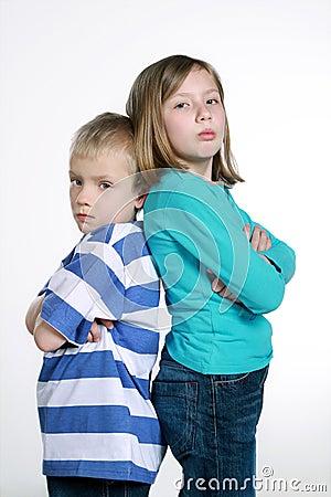 Boy and girl after quarrel