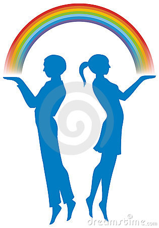 Boy and girl with rainbow