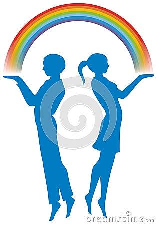 Boy and girl with rainbow