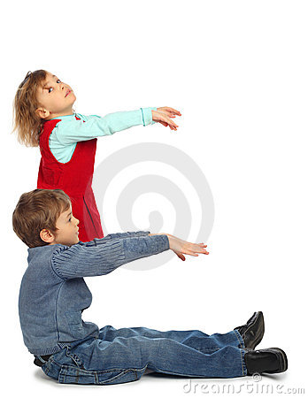 Boy with girl represent  letter e