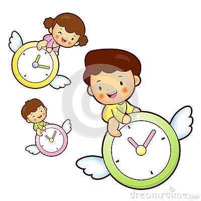 Boy and girl is riding a big watch Flying in the sky. Education