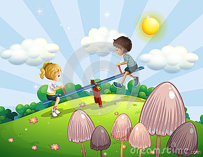 A boy and a girl riding a seesaw