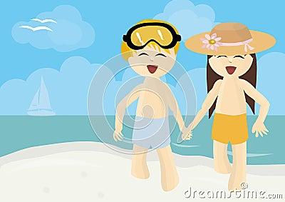 Boy and girl running on summer beach