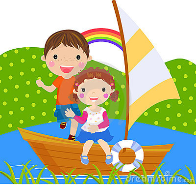 Boy and girl sailing on lake