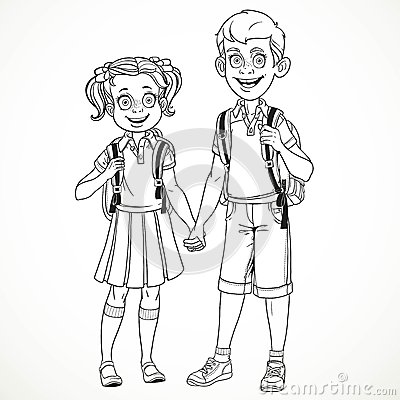 how to draw a chibi boy and girl holding hands