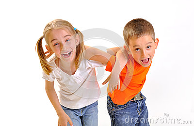 Boy and a girl scuffle