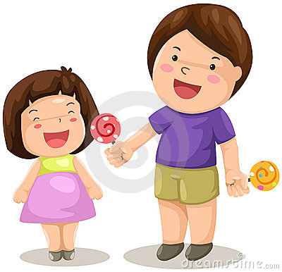 Boy and girl share candy