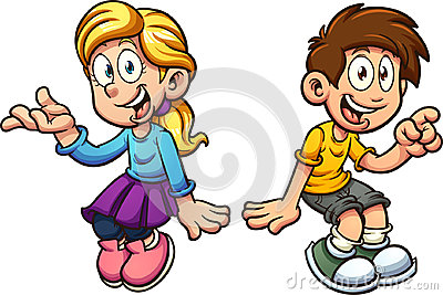 Boy and girl sitting Vector Illustration